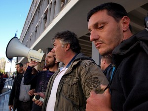 Greek university teachers protest at the Aristotelion University of Thessaloniki 