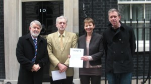 Caroline Lucas with Stop the War delegation to Downing St