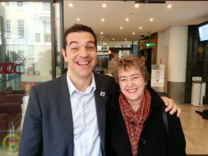 Alexis Tsipras and CND's Kate Hudson at the TUC
