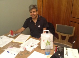 Doug Thorpe from Haringey Left Unity helping out on the queries desk