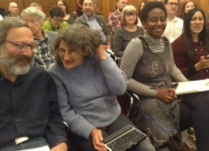 Mike Scott and Liz Silver [Nottingham], Cetia Frietas [Surrey] and Iram Awan [High Wycombe] at the meeting yesterday