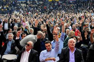 Delegates vote at the recent Syriza Congress