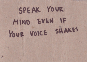 speak up for yourself