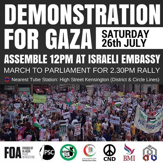 Gaza: Another national demonstration this Saturday