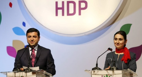 HDP leaders Selahattin Demitras and Figen Yuksekdag